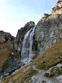 Wasserfall bei der Sesvenna Hütte in Schlinig